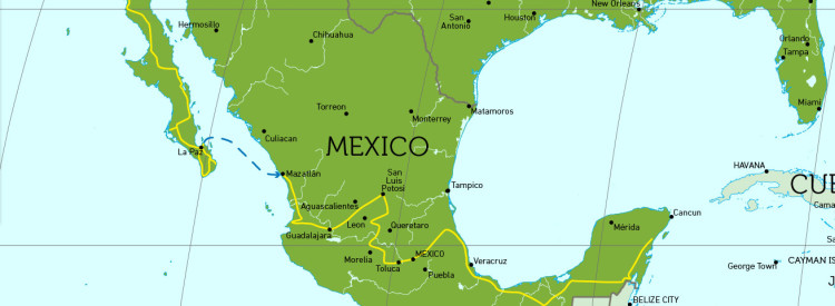 Travel Route in Mexico.