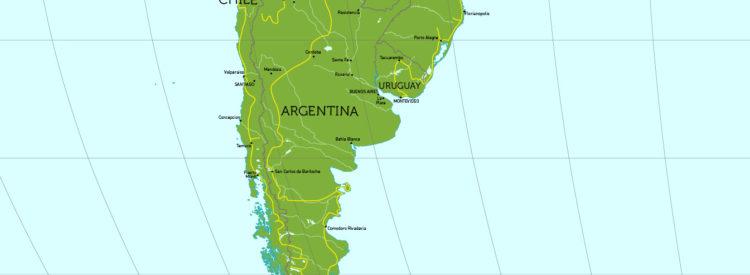Travel Route von Argentinien über Brasilien nach Uruguay.